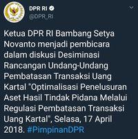 Tweet DPR yang salah sebut 'Bambang Setya Novanto' /