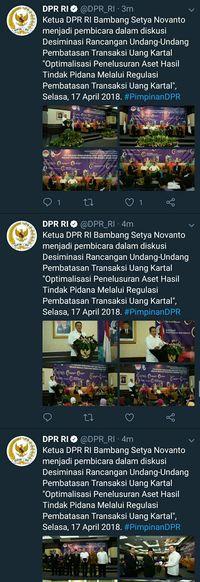 Saat Twitter DPR Sebut Ketua DPR 'Bambang Setya Novanto'