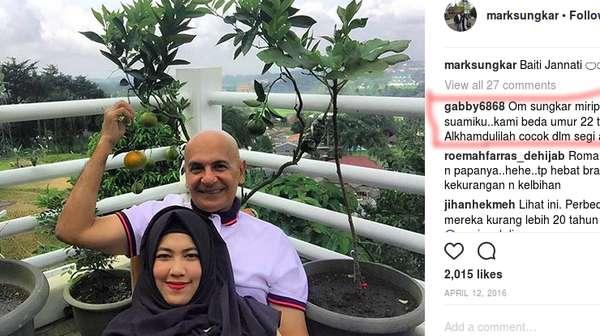 Kemesraan Mark Sungkar & Santi yang Beda Usia 45 Tahun