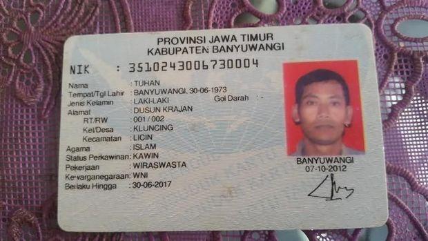 Pria bernama Tuhan di Banyuwangi.