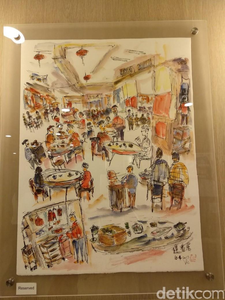 Ilustrasi Victor Law Hiasi Sudut Hotel JEN Hong Kong  Foto: Tia Agnes/ detikHOT