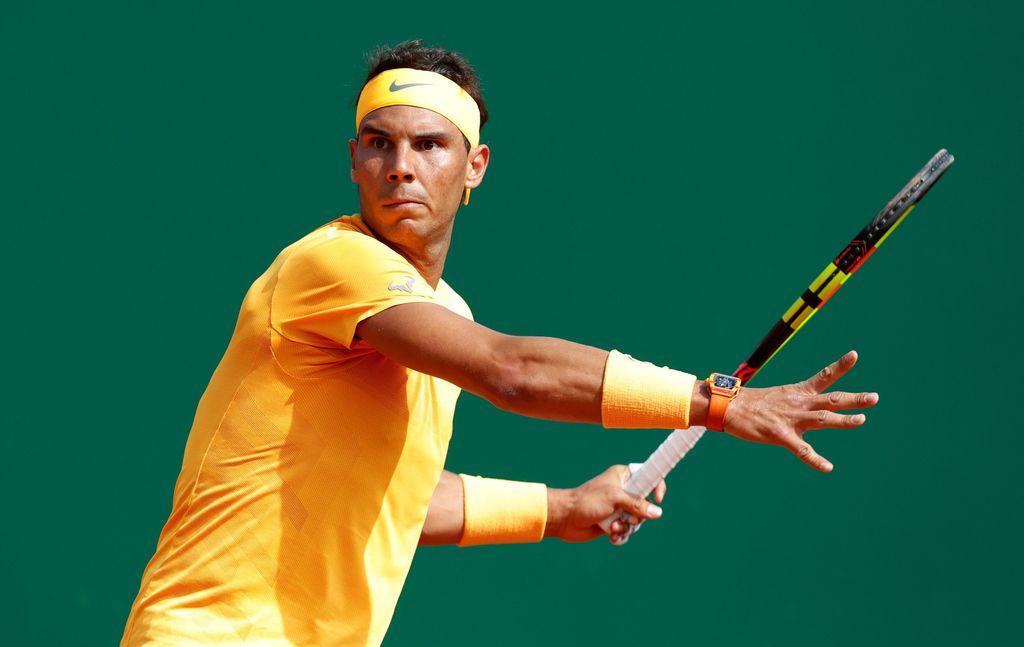 Tennis - ATP - Monte Carlo Masters - Monte-Carlo Country Club, Monte Carlo, Monaco - April 18, 2018   Spain's Rafael Nadal in action during his second round match against Slovenia's Aljaz Bedene   REUTERS/Eric Gaillard