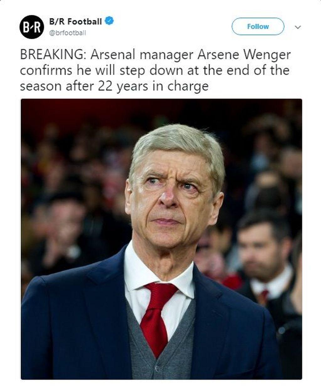 Arsene Wenger akan meninggalkan Arsenal pada akhir musim setelah 22 tahun menukangi tim asal London tersebut. Foto: istimewa