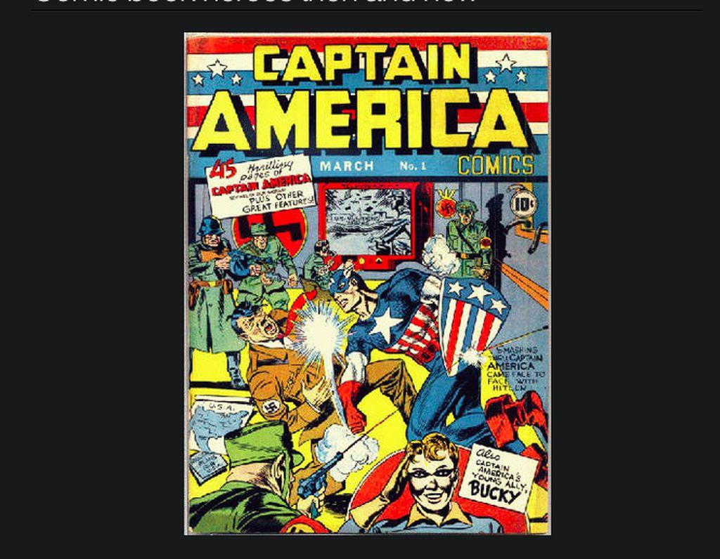 Captain America pertama kali muncul di komik pada Maret 1941 dengan penampilan seperti ini. Meski terlihat menghajar Hitler, tak terlihat diktator Jerman itu di jalan ceritanya. Foto: istimewa