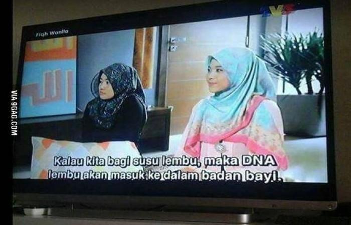 Salah satu FTV di Malaysia baru-baru ini jadi perbincangan karena memberikan informasi yang membuat netizen gagal paham. Jika kita memberi susu sapi, maka DNA sapi akan masuk ke dalam tubuh bayi, kira-kira seperti itu arti dari teks tersebut. Hmm.. (Foto: 9gag)