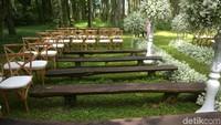 Terlihat tempat pernikahan Syahnaz dan Jeje sudah dirapihkan. Foto: Tempat Pernikahan Syahnaz dan Jeje (Noel/detikHOT)