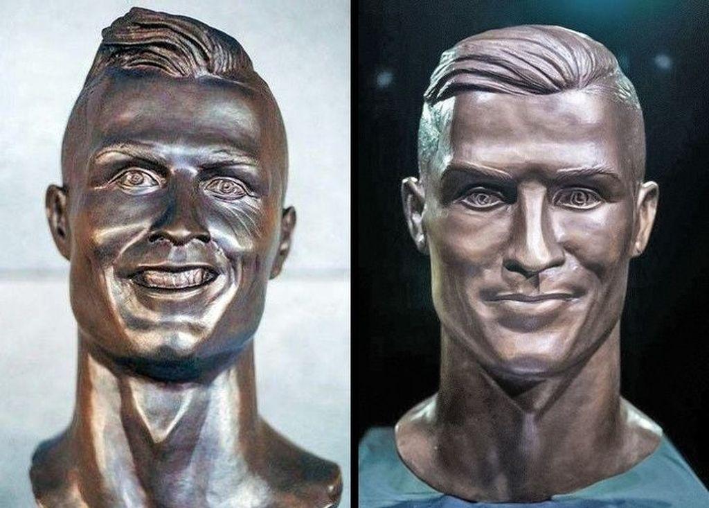 Sebelah kiri adalah patung pesepakbola Cristiano Ronaldo karya pematung Emanuel Santos yang diolok-olok karena dinilai jelek. Santos menerima kritikan dan membuat ulang patung Ronaldo. Foto: gangbangkang/reddit via Brightside