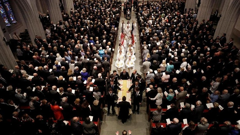Foto: Obama hingga Clinton di Upacara Pemakaman Barbara Bush
