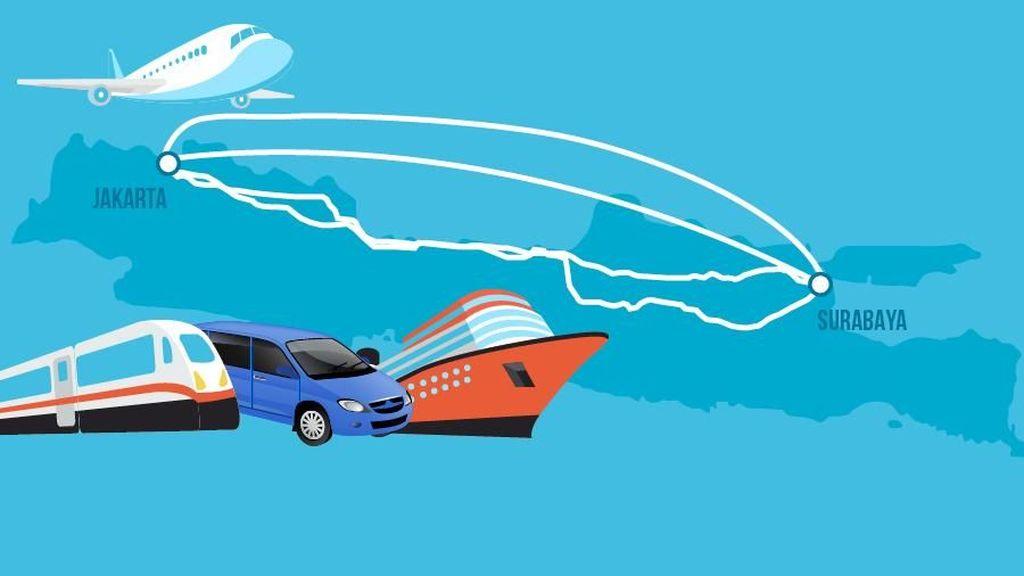 Murah Mana Mudik ke Surabaya Lewat Jalur Darat, Udara, dan Laut?