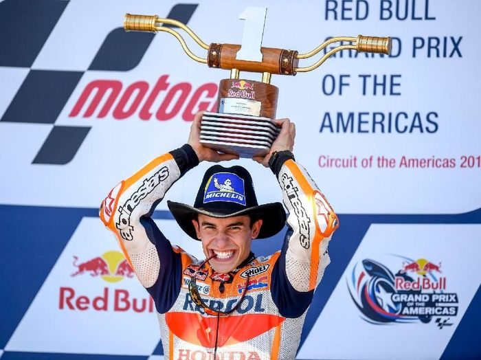 Marc Marquez juara di MotoGP Austin meski kondisinya tak fit 100% (Twitter @HRC_MotoGP)