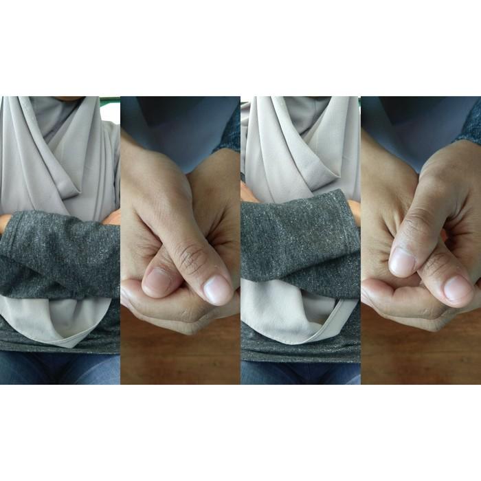 Percaya atau tidak, tangan dan jari bisa menunjukan kepribadianmu. Sekarang coba perhatikan tangan mana yang ada di atas saat menyilangkan tangan di depan dada dan jempol mana yang berada di atas saat menggenggam. (Foto: detikcom)