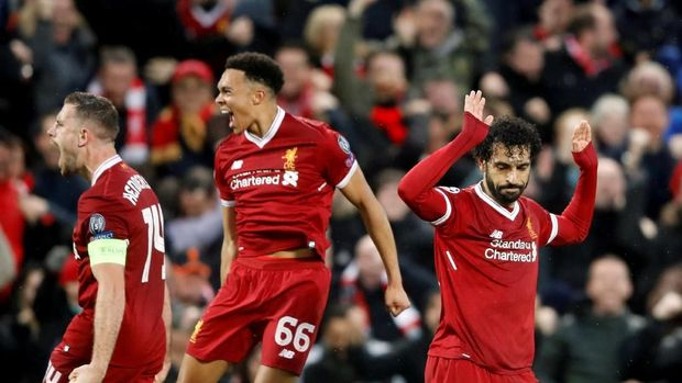 Mohamed Salah mencetak dua gol ke gawang AS Roma.