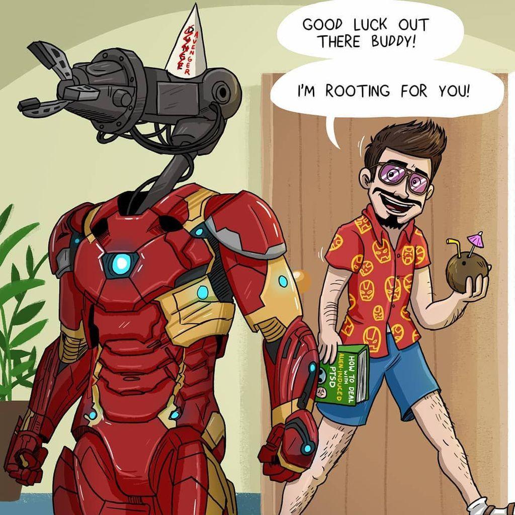 Karena punya seragam tempur otomatis, Tony Stark bisa santai. Semoga beruntung di luar sana, kawan. Aku mengandalkanmu, katanya dengan pakaian ala liburan. Foto: Instagram@woodenplankstudios