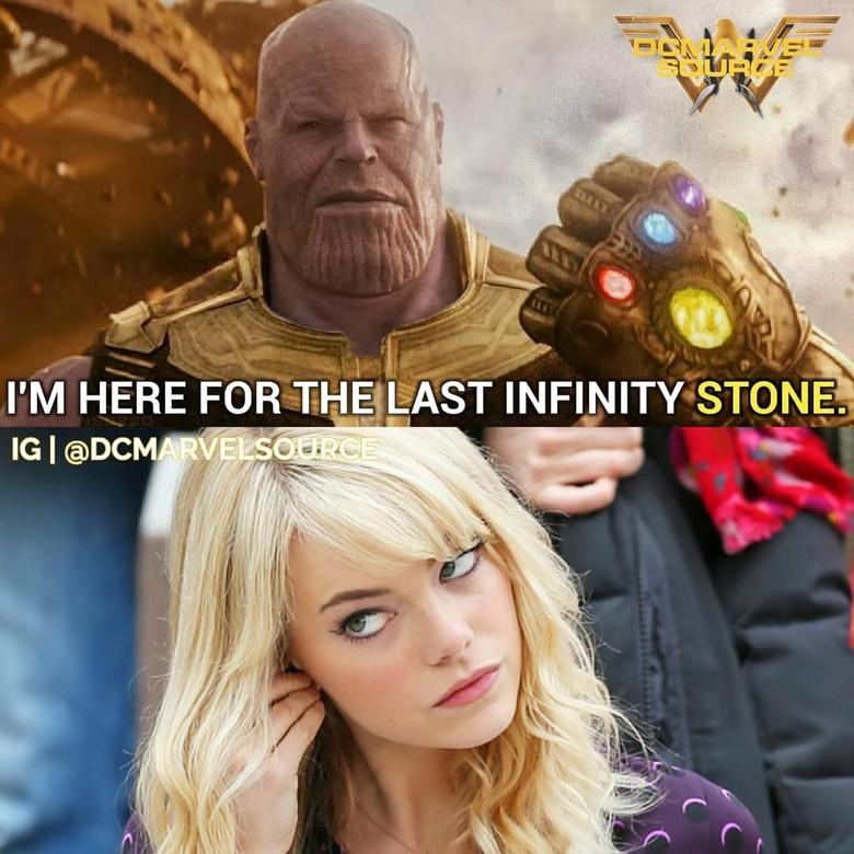 Tujuan utama Thanos ke Bumi adalah untuk mencari infinity stone, yang ternyata merupakan Emma Stone. Foto: istimewa