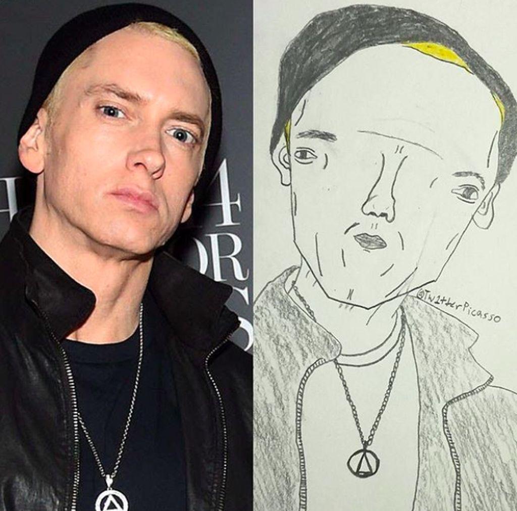 tw1tterpicasso, demikian nama akun Instagram ini yang telah meraup puluhan ribu follower. Ini saat melukis Eminem yang benar-benar 'mirip'. Foto: Instagram