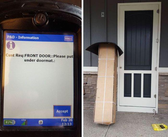 Sesuai permintaan, tiap paket tolong ditaruh di bawah keset. Istimewa.