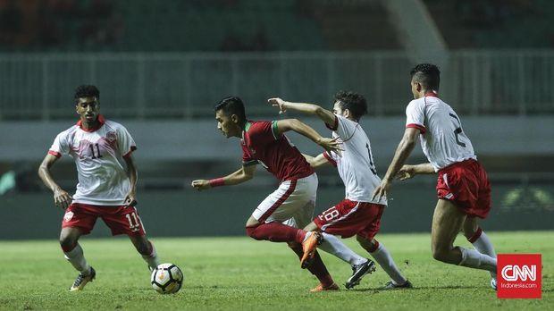 Timnas Indonesia saat dikalahkan timnas Bahrain 0-1. (