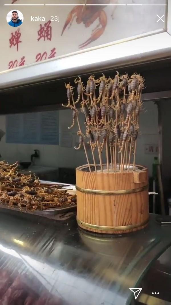 Traveler tahu ini makanan apa? Nampak kalajengking yang masih hidup dijadikan sate dan diabadikan Kaka (Kaka/Instagram)