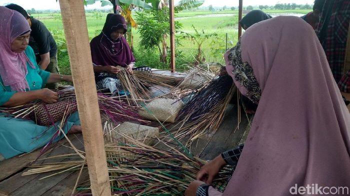 Ibu-ibu di Kelurahan Palam, Banjarbaru, membuat tas dari Purun rumput khas lahan gambut. Foto: Aryo Bhawono/detikcom