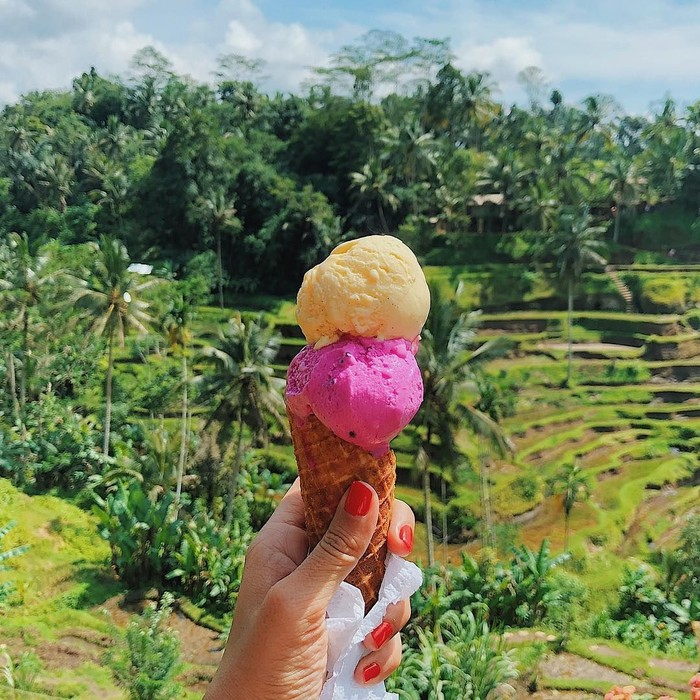 Memiliki hobi travelling, Melissa memiliki cara yang unik untuk mengabadikan foto dari setiap negara yang ia kunjungi. Yaitu dengan mengunggah foto makanan dengan latar belakang panorama dunia yang indah. Foto: Instagram @girleatworld