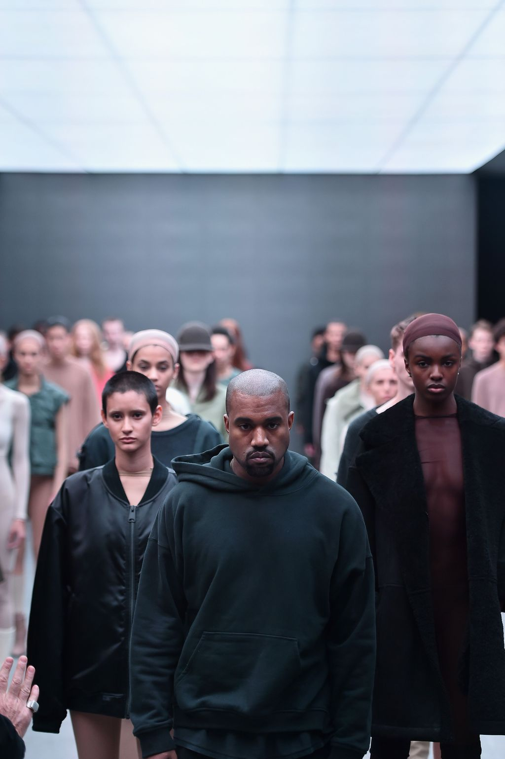 NEW YORK, NY - SEPTEMBER 07: (EDITORS NOTE: Image contains partial nudity.)  Models pose on the runway at the Kanye West Yeezy Season 4 fashion show on September 7, 2016 in New York City.  (Photo by Bryan Bedder/Getty Images for Yeezy Season 4)