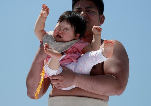 Namanya Festival Nakizumo, dimana para pesumo berlomba membuat bayi-bayi gemas ini menangis. (Reuters)
