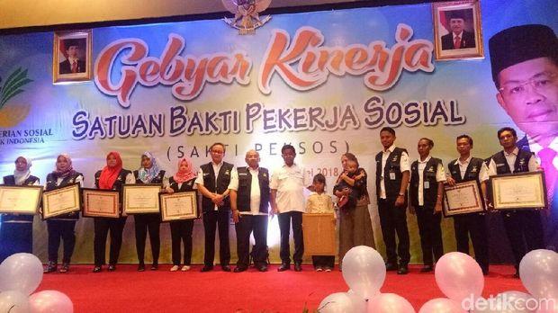 Mensos Idrus Marham di Gebyar Kinerja Sakti Peksos di Hotel Mercure, Ancol, Jakarta Utara, Rabu (2/5/2018).