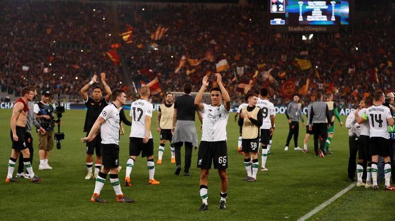 Liverpool mengalahkan AS Roma dalam lanjutan semifinal Liga Champions. Mereka menang agregat 7-6 dan lolos ke final untuk menantang Real Madrid (John Sibley/Action Images via Reuters)