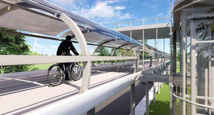 Desain ini mengambil tema sistem transportasi nol-emisi, karena Mini Loop dirancang untuk memanfaatkan energi terbarukan dan memasok kelebihan daya ke jaringan kota setempat. Istimewa/Inhabitat.