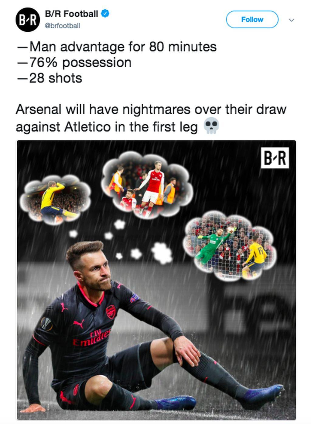 Aaron Ramsey dan pemain Arsenal lain digambarkan menyesal karena menyia-nyiakan leg pertama di mana mereka punya banyak keuntungan, dari keunggulan jumlah pemain, possesion sampai tembakan. Foto: istimewa