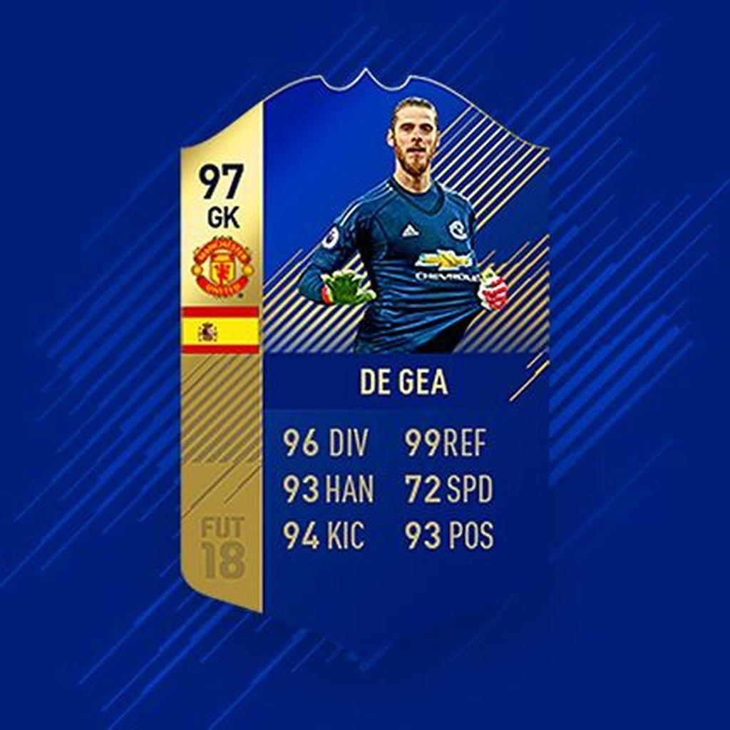 Di posisi kiper ada David De Gea dari Manchester United dengan nilai kemampuannya di FIFA 18 secara keseluruhan 97 dari 100. Foto: EA
