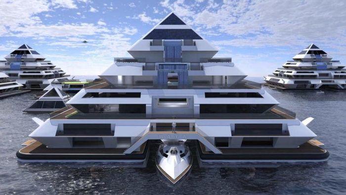Desain kota terapung ini diberi nama Wayaland, yang terdiri dari bangunan rumah-rumah berbentuk piramida. Inhabitat/Istimewa.