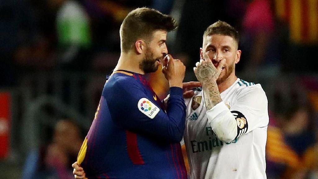 Pique dan Ramos Berciuman Mesra Jelang El Clasico