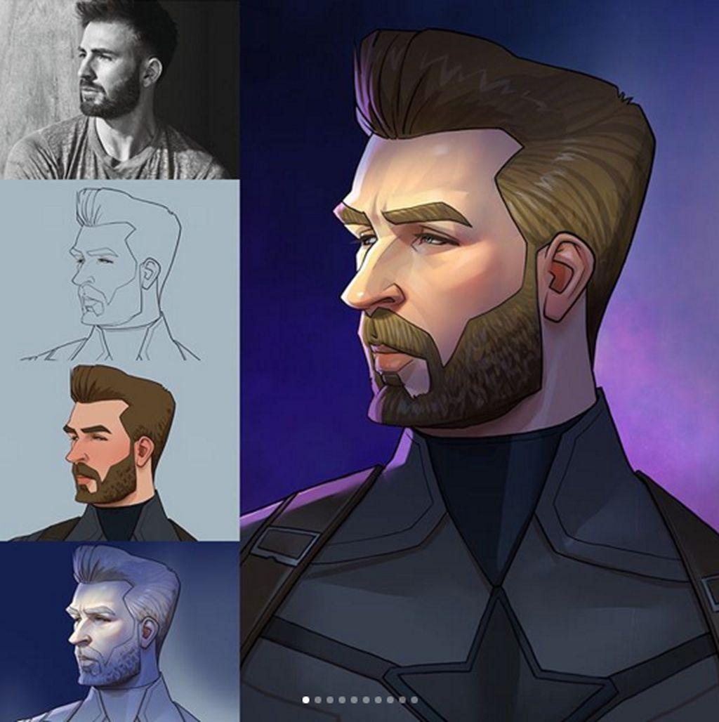 Xi Ding merupakan seorang seniman dan ilustrator berbasis Austria-China. Karakter Steve Rogers sang Captain America.(Foto: Instagram)
