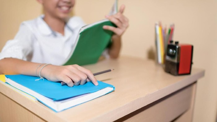 A Happy Little Asian boy holding pencil while reading on notebook homework with smiling face on wooden table.Back to School concept.