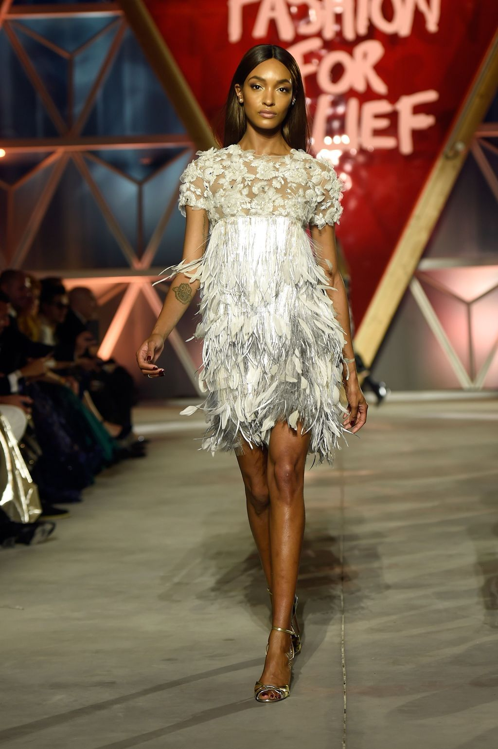 CANNES, FRANCE - MAY 21: Jourdan Dunn walks the runway at the Fashion for Relief event during the 70th annual Cannes Film Festival at Aeroport Cannes Mandelieu on May 21, 2017 in Cannes, France.  (Photo by Antony Jones/Getty Images)
