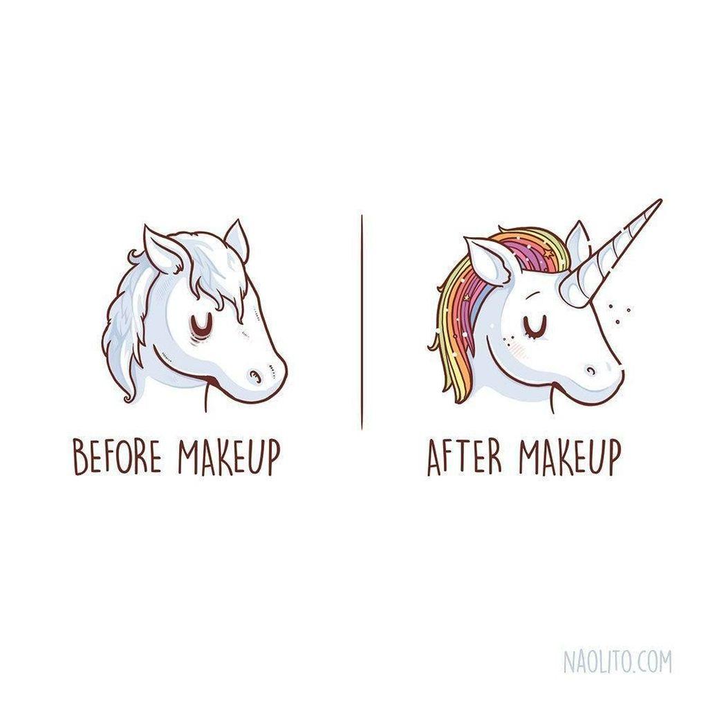 Awalnya sih mukanya pucat, tapi begitu pakai makeup langsung warna-warni. Foto:Instagram @naolito