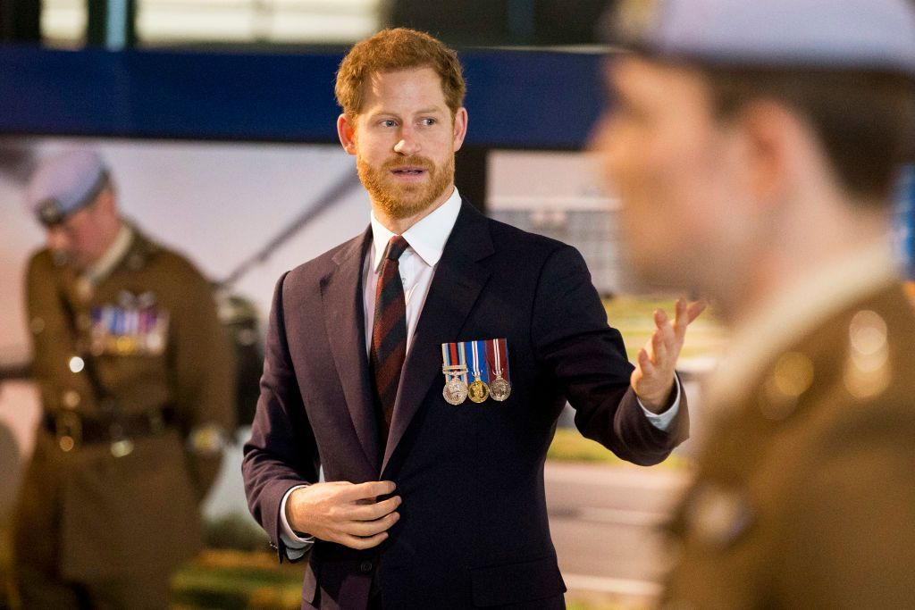 MIDDLE WALLOP, HAMPSHIRE, ENGLAND - MARCH 16:  Prince Harry attends a ceremony at the Museum of Army Flying as he presents 12 pilots from Course 17/02 of the Army Air Corps with their Wings on March 16, 2018 in Stockbridge, England. Prince Harry returned today to the Army Aviation Centre where he undertook advanced helicopter training to present the latest graduates with their Wings.  (Photo by Heathcliff O'Malley - WPA Pool /Getty Images)