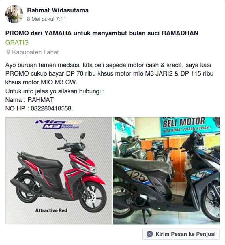 Motor Yamaha Mio M3 Ditawarkan dengan DP Rp 70 Ribu. Foto: Screenshot Facebook