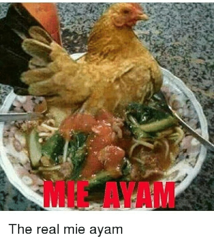 Waduh! Kalau mie ayamnya begini, masih ada yang mau makan nggak? Bukan ayam berbumbu, malah ayam hidup yang disajikan di atas mie. Foto: Istimewa