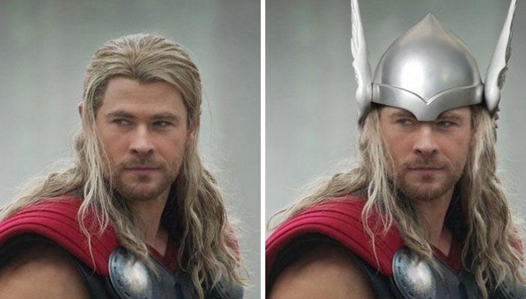 Thor, di komik thormemiliki topi baja. (Foto: Boredpanda)