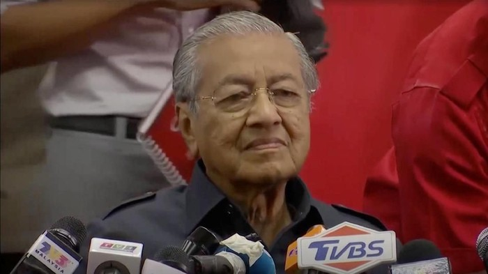 Malaysias newly elected Prime Minister Mahathir Mohamad attends a news conference in Menara Yayasan Selangor, Malaysia May 12, 2018 in this picture grab taken from video.  REUTERS TV via REUTERS
