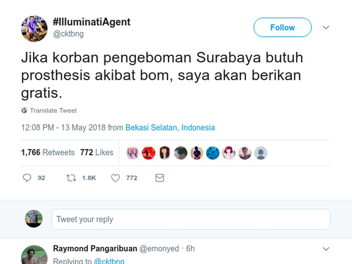 Coki menawarkan prostesis gratis untuk korban bom Surabaya. (Foto: Twitter)