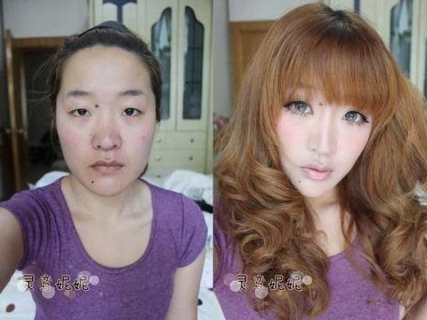 Ilustrasi penampilan wanita pakai dan tanpa makeup
