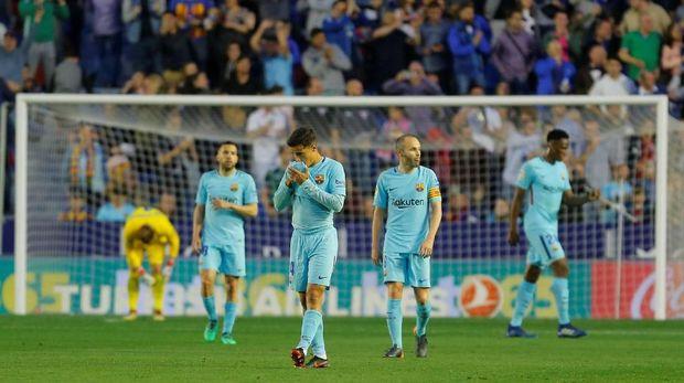 Barcelona kalah 4-5 dari Levante di laga pekan ke-37 La Liga Spanyol. (