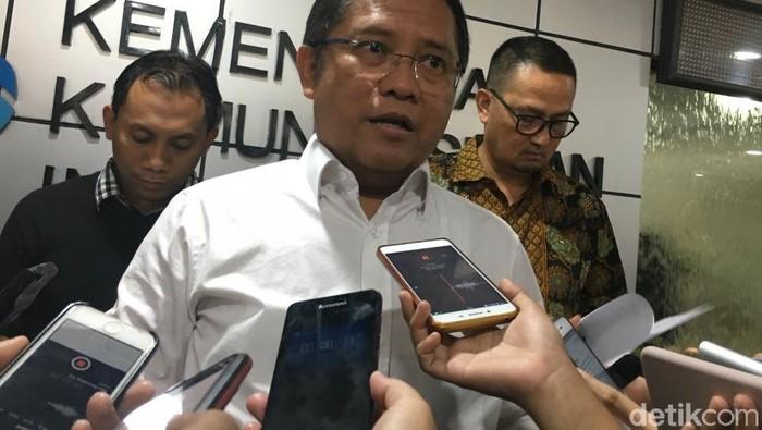 Menkominfo Rudiantara usai rapat dengan Facebook, Google, Twitter. (Agus Tri Haryanto/detikINET)