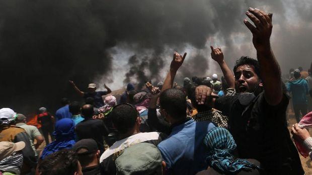 Demonstran Palestina di Jalur Gaza