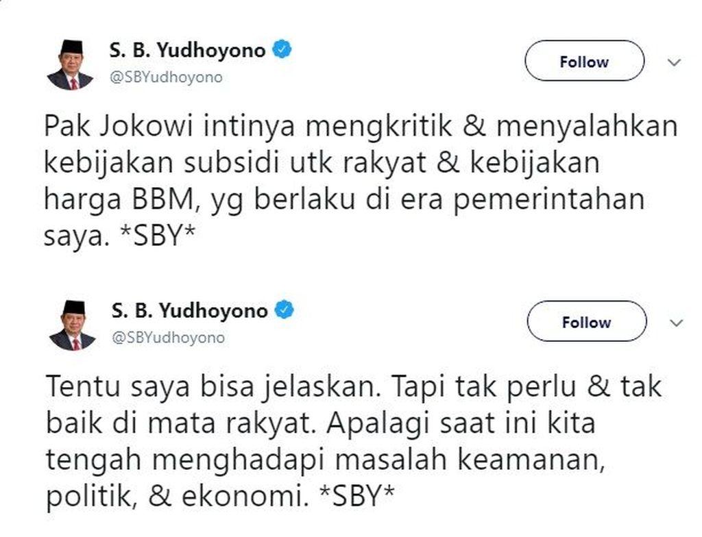 SBY menulis sebuah kicauan mengenai komentar Presiden Joko Widodo terhadap kebijakan subsidi yang diterapkan olehnya saat masih memimpin Indonesia. (Foto: Twitter)