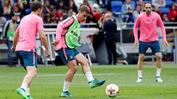 Pemain Atletico Madrid berlatih jelang laga final Liga Europa 2018.