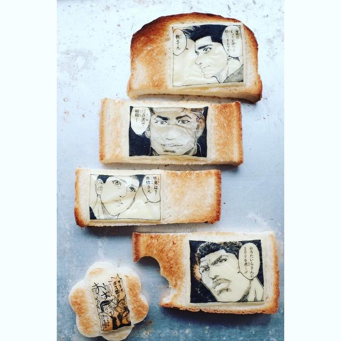 Ini bukan buku bentuk roti tawar. Tapi ini roti tawar sungguhan dengan lembaran keju yang sudah digambar. Walau di gambar di atas keju, gambarnya terlihat sangat rapi dan detail. Foto: Instagram @uukanuba